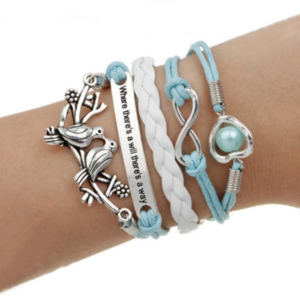 Blue charm singing birds pendants unisex bracelet
