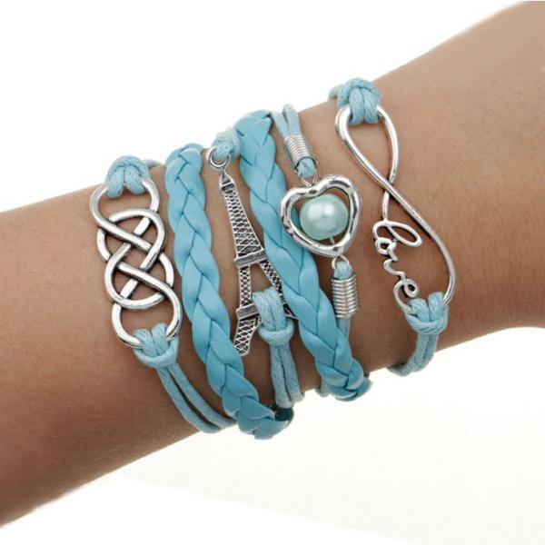 Blue charm love heart pendant girl bracelet