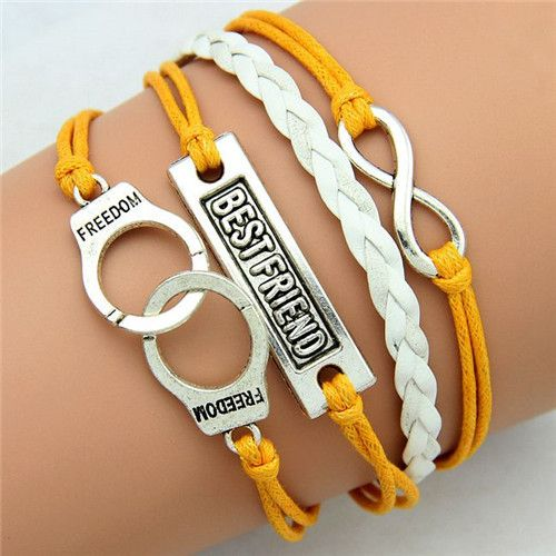 Handcuff freedom wrap charm unisex yellow bracelet
