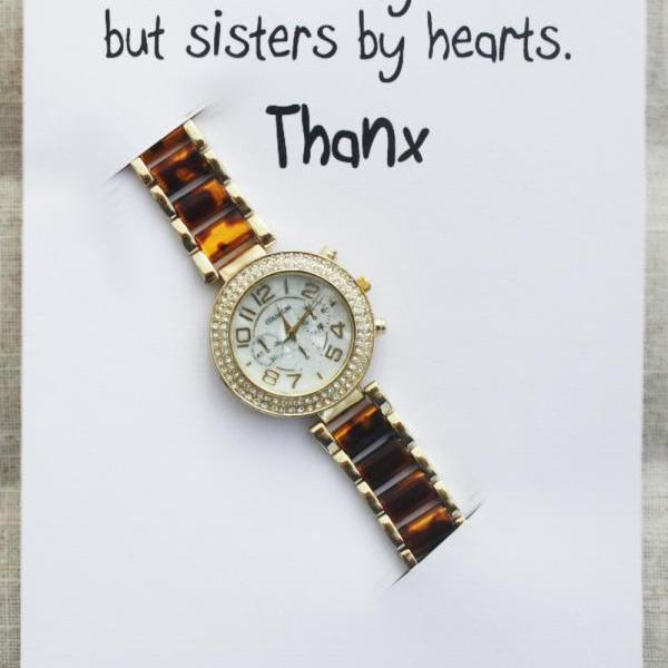 Best Friends Thank you Gift Card Woman Fashion Wristwatch Dress Anniversary Rose Gold Watch