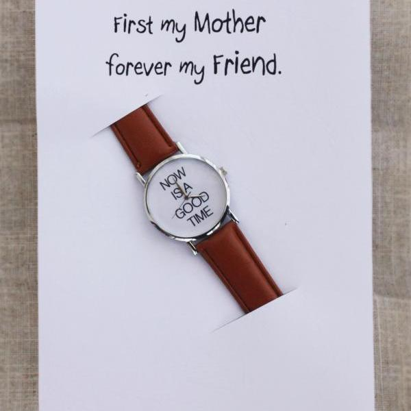 Brown Band Casual Wrist Watch Unisex Gift First my Mother, Forever my Friend Card Watch