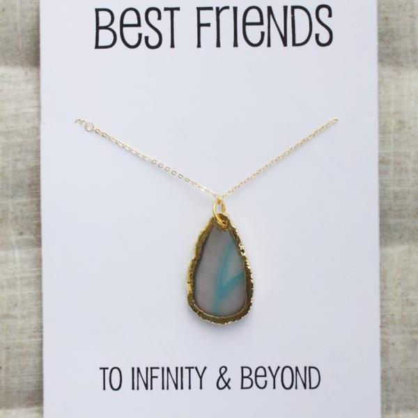 Best Friends to Infinity and Beyond Woman Pendant Stone Necklace