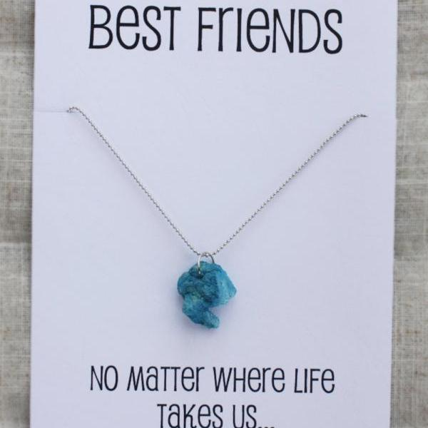 Best Friends No Matter Where Life Take UsWoman Pendant Stone Necklace