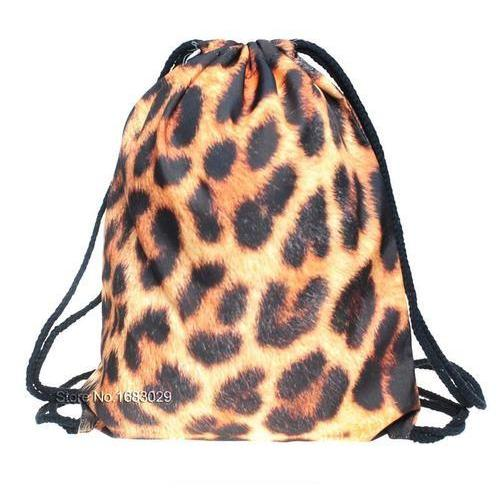 Travel School Girl Teenage Casual Leopard Design Drawstring Bag Picnic Woman Softback Backpack