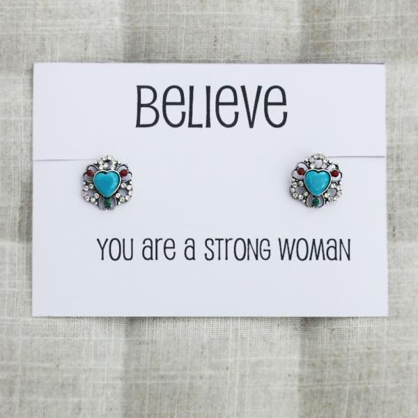 Thank You For Standing by my Side Anniversary Gift Woman Rhinestones Gift Card Earrings