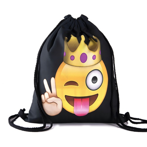 Travel School Girl Teenage Casual Emoji Queen Design Drawstring Bag Black Woman Softback Backpack