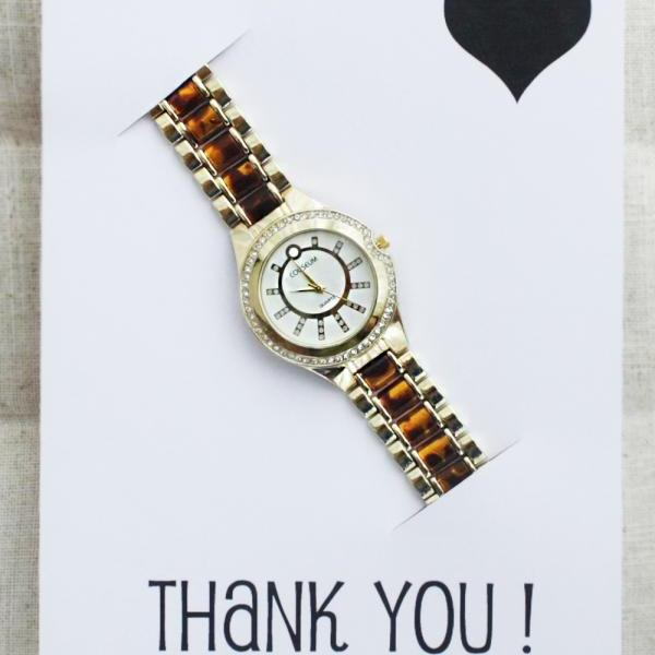 Thank You Card Girl Stainless Steel Fashion Wristwatch Dress Leoprad band Gold Watch