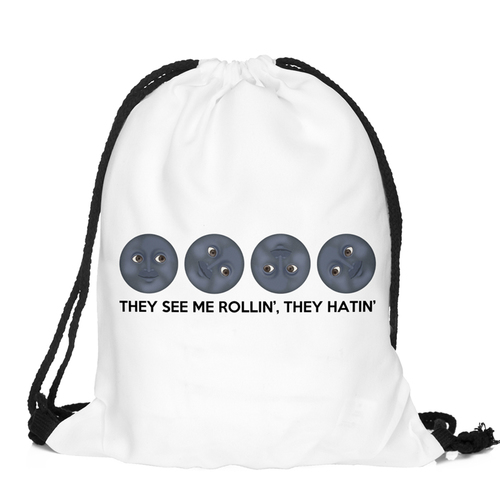 Funny Emoji Cool School Girl Teenage Drawstring Bag Woman Softback Backpack