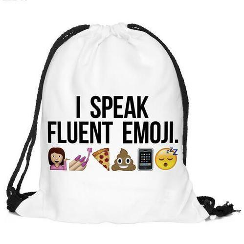 Back to School I Speak Fluent Emoji Pattern Funny Drawstring Bag Backpack