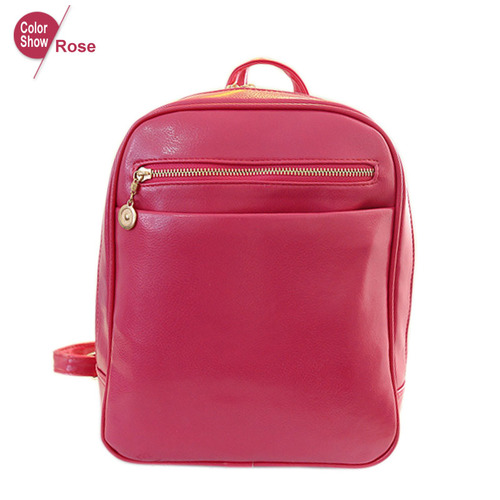 Fashion Elegant Fashion Girl School Travel Pu Leather Teenage Femina bag Red Backpack