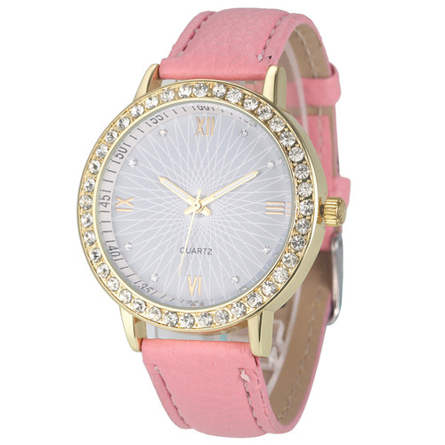Elegant Rhinestone GOld Toned Case Dress Pu Leather Pink Strap Woman Gift Teen Watch