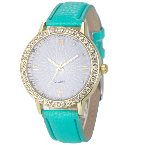 Elegant Rhinestone Gold Toned Case Dress Pu Leather Green Strap Woman Gift Teen Watch