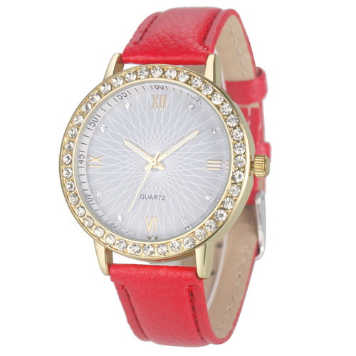 Elegant Rhinestone Gold Toned Case Dress Pu Leather Red Strap Woman Gift Teen Watch