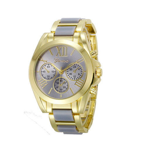Gold Toned Alloy Strap Woman Dress Fashion Evening Gray Watch