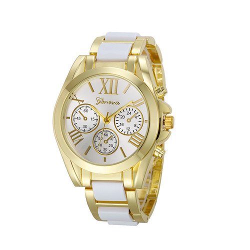 Gold Toned Alloy Strap Woman Dress Fashion Evening White Watch