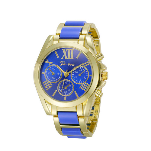 Gold Toned Alloy Strap Woman Classy Dress Fashion Evening Blue Watch