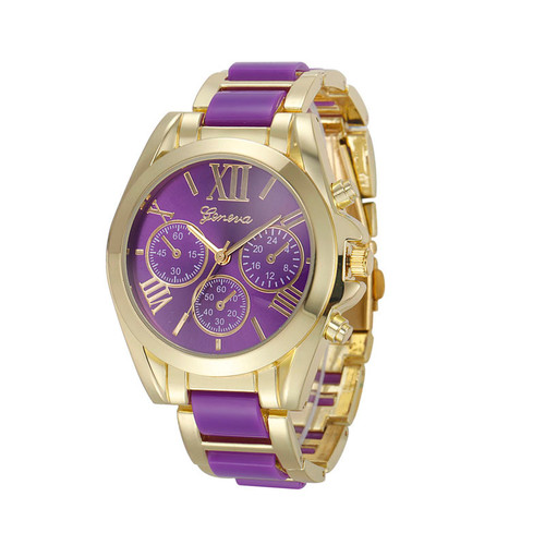 Gold Toned Alloy Strap Woman Classy Eveing Night Out Dress Fashion Evening Purple Watch