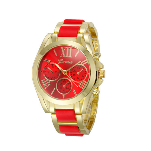 Gold Toned Alloy Strap Woman Classy Eveing Night Out Dress Fashion Evening Red Watch