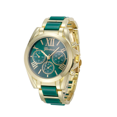 Gold Toned Alloy Strap Woman Classy Eveing Night Out Dress Fashion Evening Girl Green Watch