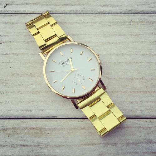 Gold Toned Alloy Band Woman Classy Formal Night Out Dress Fashion Evening Girl White Face Watch