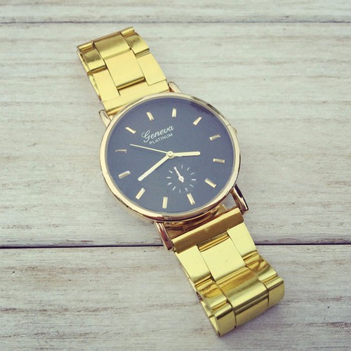 Gold Toned Alloy Band Woman Classy Formal Night Out Dress Fashion Evening Girl Black Face Watch
