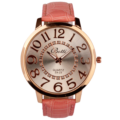 Luxury Ladies WristWatches Royal Gold Crystal Quartz Women Dress Pink PU Leather Band Watch