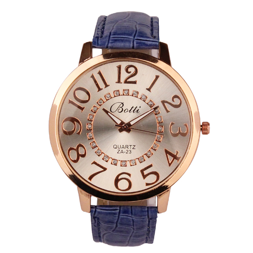 Luxury Ladies WristWatches Royal Gold Crystal Quartz Women Dress Blue PU Leather Band Watch