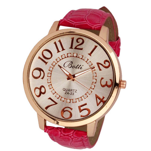 Luxury Ladies WristWatches Royal Gold Crystal Quartz Women Dress Red PU Leather Band Watch