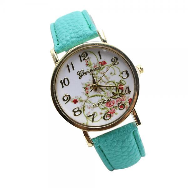 WristWatches Floral Fashion Case Quartz Women Casual Sky Blue PU Leather Band Watch