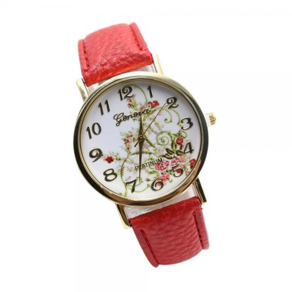 WristWatches Floral Fashion Case Quartz Women Casual Red PU Leather Band Watch