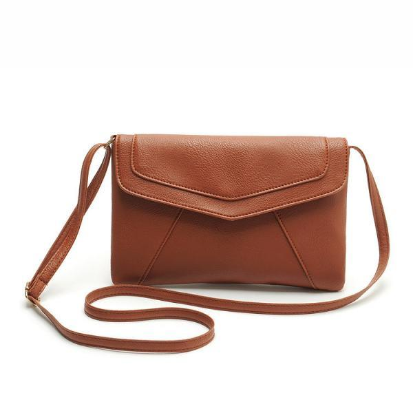 Messenger Shoulder Golden Leather Strap Fashion Crossbody Messanger Clutch PU Leather Brown Woman Bag Handbag