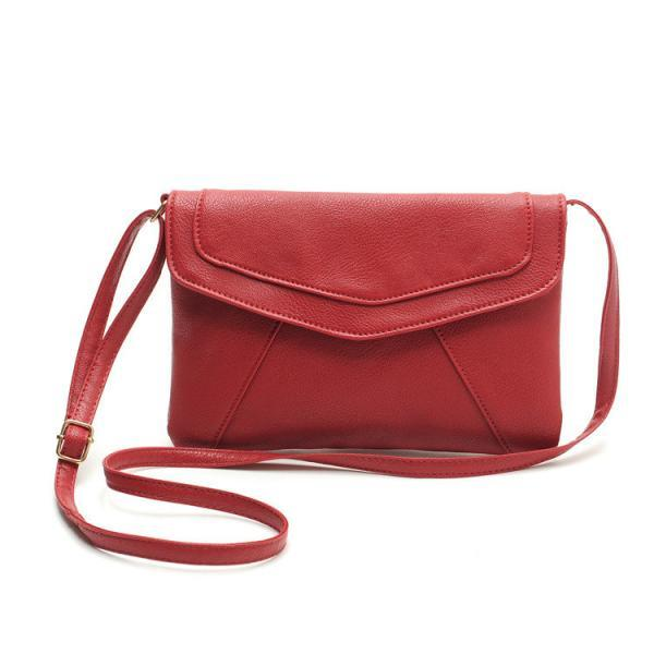 Messenger Shoulder Golden Leather Strap Fashion Crossbody Messanger Clutch PU Leather Red Woman Bag Handbag