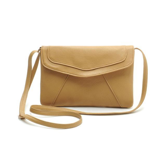Messenger Shoulder Golden Leather Strap Fashion Crossbody Messanger Clutch PU Leather Khaki Woman Bag Handbag