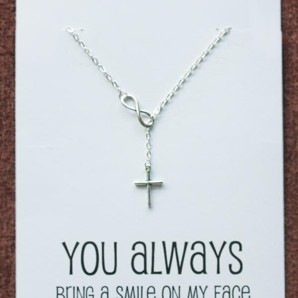 You always bring a smile Gift Card Alloy Silver Toned Infinity BelieveCross Pendant Necklace