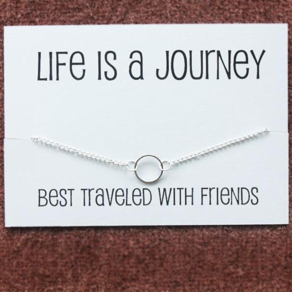 Circle of Friends and Family Pendant Silver Toned Chain Woman Fashion Girl Wedding jewelry Necklace