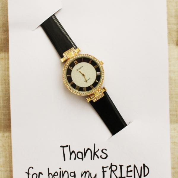 Thanks for Being my Friend Pu Leather Fashion Woman Gift Card Girl Wristwatch