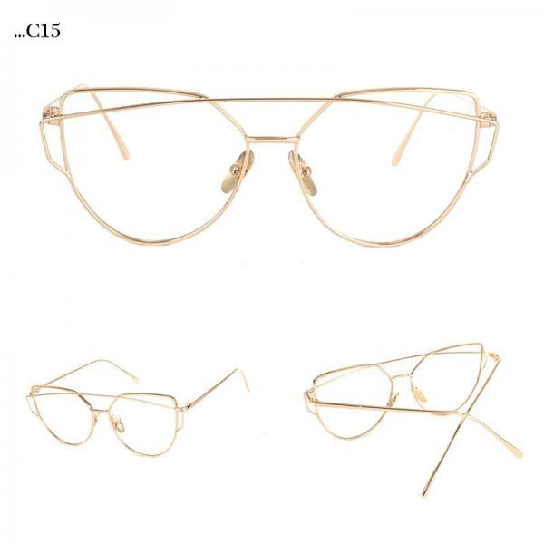 Transparent Lenses Cat Eye Sunglasses Women Sunglasses Double-Deck Alloy Frame Sunglasses