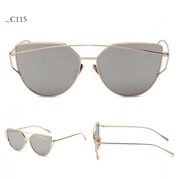 Gray Lenses Cat Eye Sunglasses Women Sunglasses Double-Deck Alloy Frame Sunglasses