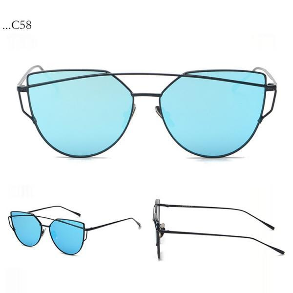 Fashion Bue Lenses Cat Eye Black Frame Sunglasses Women Sunglasses Double-Deck Alloy Frame Sunglasses