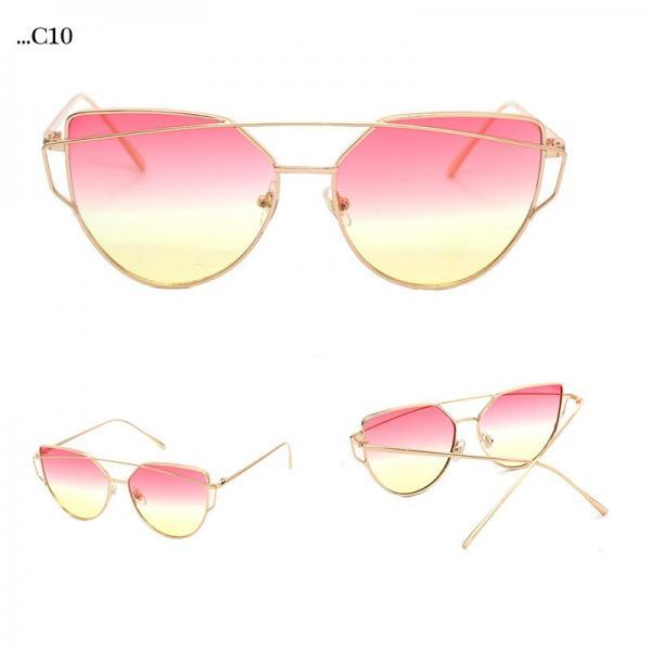 Rose-Yellow Lenses Cat Eye Sunglasses Women Sunglasses Double-Deck Alloy Frame Sunglasses