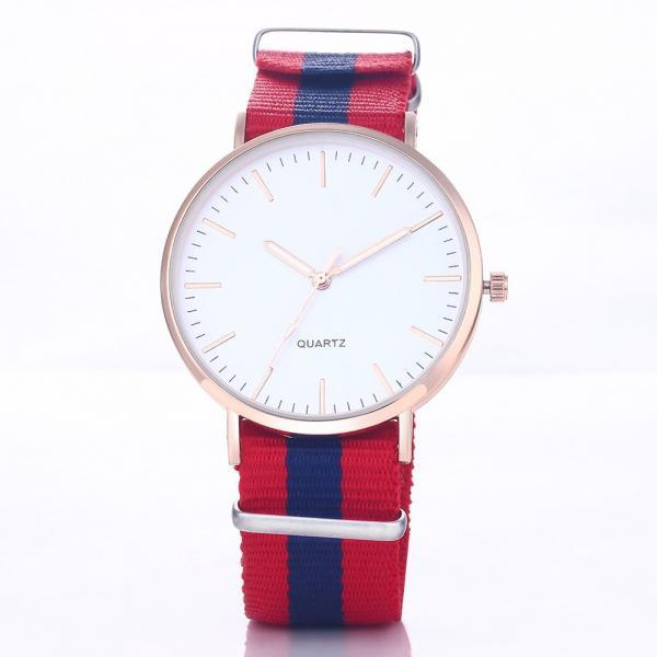 Casual Sport Style Nylon Strap Red- Blue Band Unisex Quartz Woman Watch