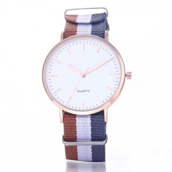 Casual Sport Style Nylon Strap Red- Blue Band Unisex Party Teen Quartz Woman Watch