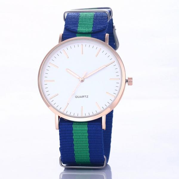 Casual Sport Style Nylon Strap Green - Blue Band Unisex Party Teen Quartz Woman Watch