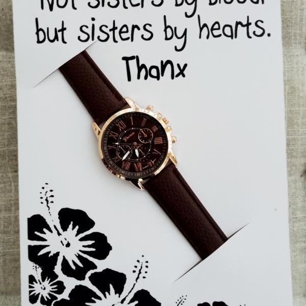 Thank you Sister Gift Card Woman Brown Pu Leather Strap Dress Night Out Party Fashion Wristwatch Gold Watch