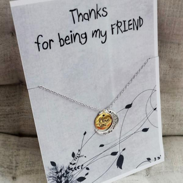 Best Girl Friend Gift Woman Pendant Love you to the Moon and Back Fashion Necklace