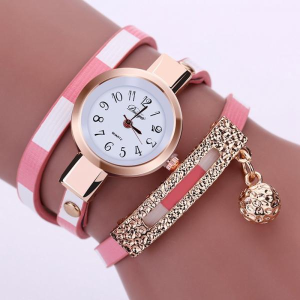 Wrap PU leather luxury dress woman pink fashion gift watch