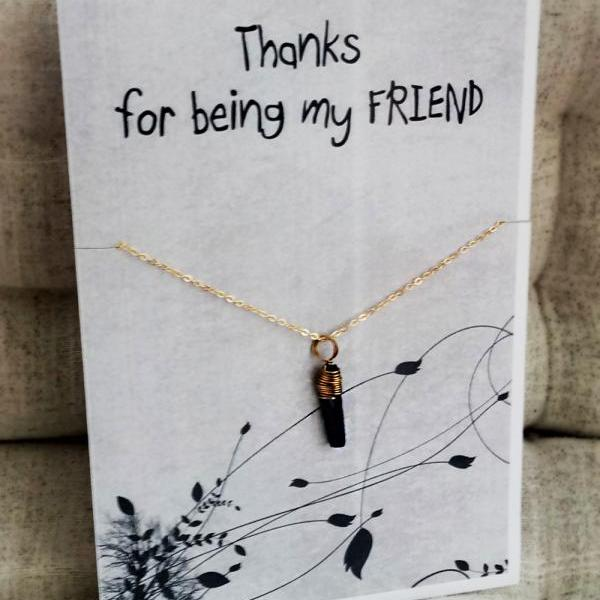 Thank You for Being my Friend gift card for friends and family girl pendant stone fashion necklace