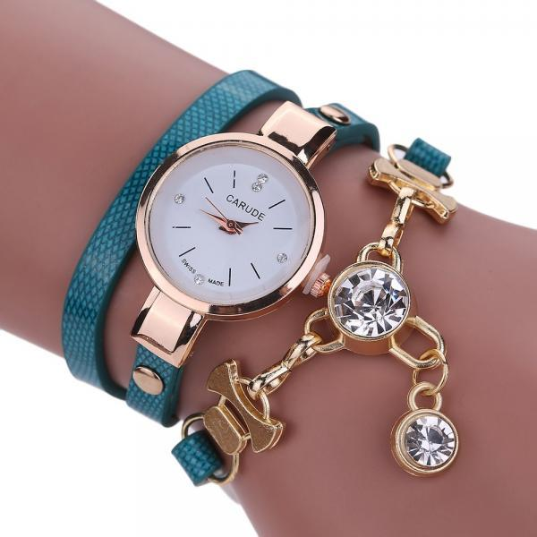 Wrap PU leather bracelet luxury dress woman blue girl crystal pandant fashion gift watch