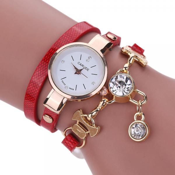 Wrap PU leather bracelet luxury dress woman red girl crystal pandant fashion gift watch
