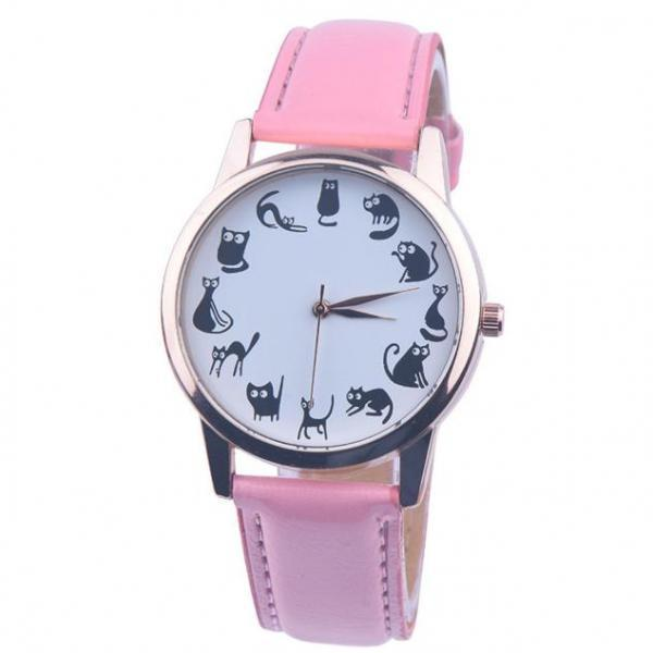 Cats emotions pink band girl teen fashion watch